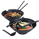 Xinmengjia 2 sets (6 piezas) japonesa ramen sopa de fideos tazón melamina plástico duro...