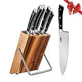 AICOK Juego de bloques de Cuchillo cocinero profesional | 6 piezas | Extra fuerte | acero...