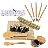 Viesap Kit para Hacer Sushi,Esterilla de Enrollar Sushi de Bambú,5 Pares de Palillos con...