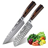 Anhichef Set de Cuchillos de Cocina, Cuchillos de Cocina Damasco Profesionales 20cm +...