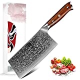 XINZUO Cuchillo Asiático Acero de Damasco, 18cm Cuchillo de Cocina Chino,Profesional...