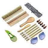 SUSHI MASTER Kit sushi completo 18 piezas, set sushi kit con esterillas, palillos, molde,...