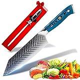 SEIRYUU Cuchillo Japonés de Chef Bunka de 17cm - Cuchilla de Damasco de 73 Capas de Acero...