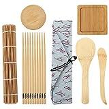 BESTonZON Juego de 10 herramientas para la preparación del sushi Sushi Roller Mat Sushi...