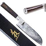 KIROSAKU Cuchillo Japonés Santoku 18 cm – Cuchillo de Cocina – Cuchillo Santoku...