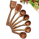 Cosyres Juego de utensilios de cocina de madera natural para cocinar, juego de...