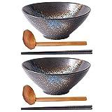 HAOQI 2 Juegos (6 Piezas) de Cuencos de Fideos, Cuenco de cerámica japonés para Servir...